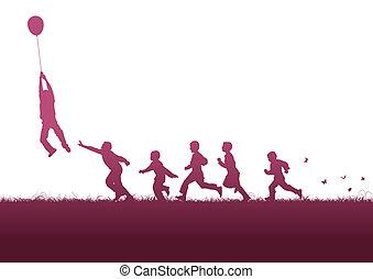 ピンク, balloon, 上に, 子供
