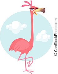 ピンク, bird., フラミンゴ, isolated., ポスター, ステッカー, イラスト, ベクトル, デザイン, カートン, 涼しい