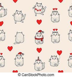 ピンク, birthday, 線, 帽子, バレンタイン, バックグラウンド。, クリスマス, ネコ, outline., santa, スカーフ, seamless, 休日, patterns., 休日, ダンス, 帽子, 心, デザイン, vector., モデル