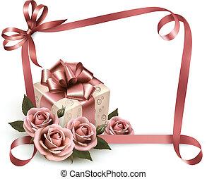 ピンク, box., illustration., 贈り物, ばら, ベクトル, レトロ, 背景, 休日