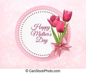 ピンク, card., 贈り物, 母, チューリップ, vector., 日, 幸せ