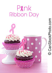 ピンク, cupcakes., 健康意識, womens, リボン, 慈善