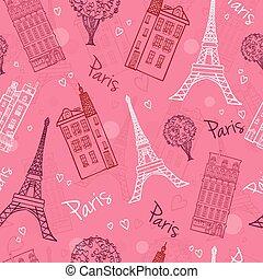 ピンク, eifel, ロマンチック, パリ, パターン, 通り, seamless, 家, ベクトル, hearts., 木, タワー