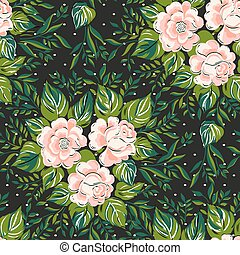 ピンク, illustration., ばら, パターン, seamless, バックグラウンド。, ベクトル, 黒, 花