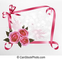 ピンク, illustration., ばら, ベクトル, 背景, ribbons., 休日