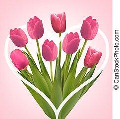 ピンク, illustration., 花束, flowers., ベクトル, 背景, 休日