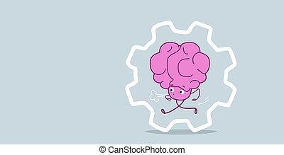 ピンク, kawaii, スタイル, 概念, プロセス, いたずら書き, はめば歯車, よく働く, 特徴, 労働力, 脳, 動くこと, 人間, 横, スケッチ, 漫画