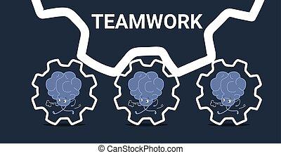 ピンク, kawaii, スタイル, 概念, 人間, プロセス, 脳, はめば歯車, よく働く, 労働力, 漫画, 成功した, 動くこと, チームワーク, 特徴, チーム, 横, スケッチ, いたずら書き