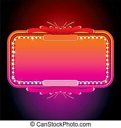 ピンク, marquee., イメージ, イラスト, ベクトル, レトロ