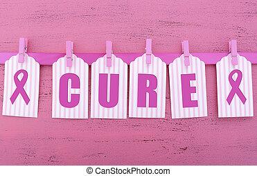 ピンク, message., 治療, 健康, リボン, womens, 認識, 慈善