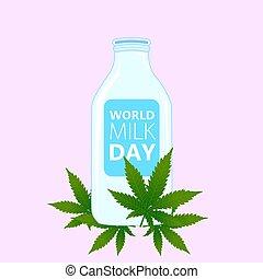 ピンク, milk., around., びん, 葉, イラスト, ミルク, インド大麻, ベクトル, 背景, 日