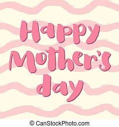 ピンク, mother's, card., 挨拶, 日, 幸せ
