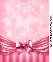 ピンク, ribbon., ギフトの弓, ベクトル, グロッシー, 背景, 休日