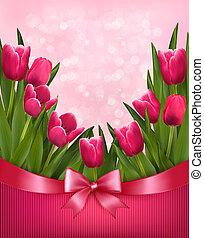 ピンク, ribbon., 休日, illustration., 花束, 弓, ベクトル, 背景, 花
