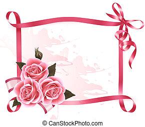 ピンク, ribbon., 花, カラフルである, 弓, バックグラウンド。, ベクトル, 休日