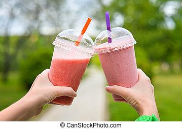 ピンク, smoothies, 手