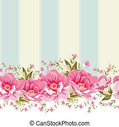 ピンク, tile., 花, ボーダー, 華やか