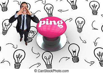 ピング, に対して, ピンク, 押しボタン