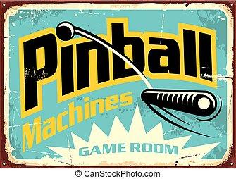ピンボール, 部屋, 印, 機械, ゲーム, レトロ
