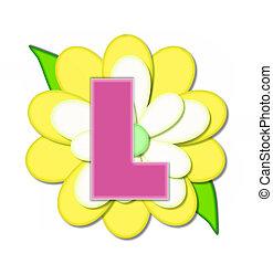 ピン, アルファベット, 黄色の花, l