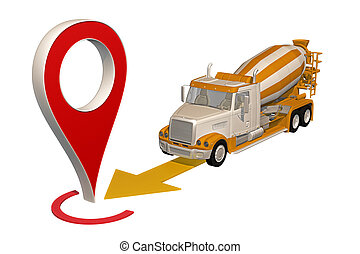 ピン, 地図, コンクリート, トラック, 行く, ミキサー
