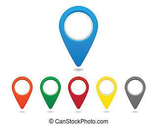 ピン, 地図, セット