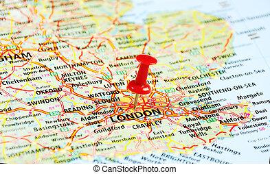 ピン, 地図, ロンドン