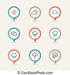 ピン, 天候, 地図を描くこと, アイコン