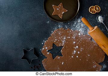 ピン, 小麦粉, 暗い, バックグラウンド。, 生地, 回転, gingerbread