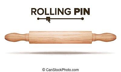 ピン, 木製である, concept., 隔離された, イラスト, パン屋, vector., 回転