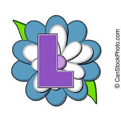ピン, 青, アルファベット, 花, l