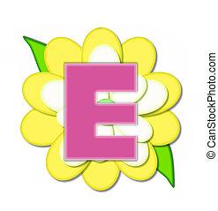 ピン, e, アルファベット, 黄色の花