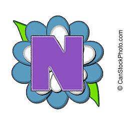 ピン, n, 青, アルファベット, 花