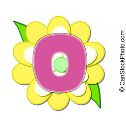 ピン, o, アルファベット, 黄色の花