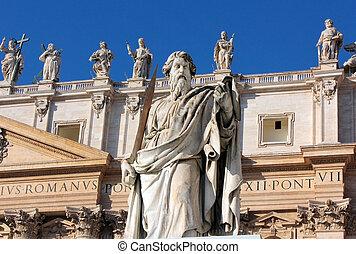 ピーター, 広場, 剣, 使徒, st. 。, ローマ, 像, ポール