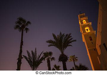 ピーター, st. 。, tel-aviv, 古い, カトリック教, israel., 都市, jaffa, 光景, 教会