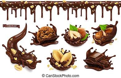 ピーナッツ, ナット, セット, ハシバミ, チョコレート, オブジェクト, ベクトル, pattern., はねる, ...