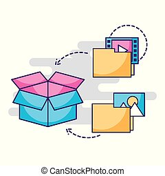 ファイル, インフォメーション貯蔵, 箱, デジタル, フォルダー