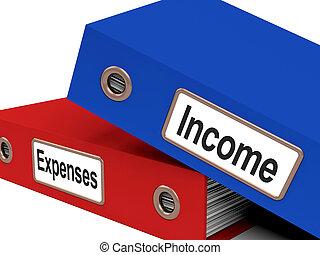 ファイル, ショー, 予算を組む, 出費, 収入, 簿記