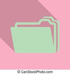 ファイル, 平ら, スタイル, ビジネスの色, イラスト, 2, 曲がり, フライヤ, ブランク, フォルダー, 含みなさい, プレゼンテーション, shadow., カード