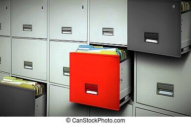 ファイル, 引き出し, ファイルを開けなさい, キャビネット