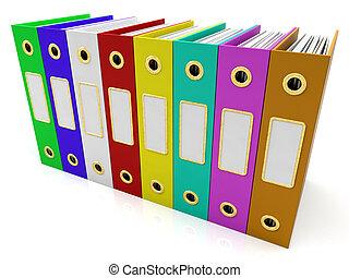 ファイル, 横列, 組織化された, カラフルである, 得なさい
