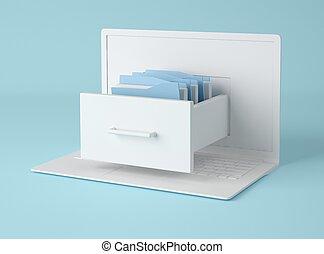 ファイル, illustration., folders., キャビネット, ラップトップ, 3d, コンピュータ