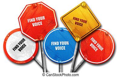 ファインド, あなたの, 声, 3d, レンダリング, 荒い, 通りの 印, コレクション