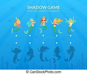 ファインド, イラスト, 正しい, ゲーム, 子供, ベクトル, mermaids, わずかしか, かわいい, 影, fairytale, 教育