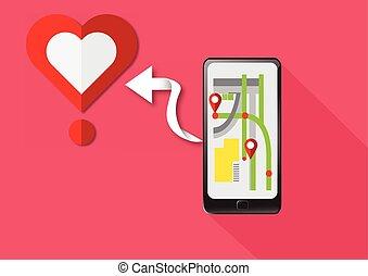 ファインド, ベクトル, 心, gps, smartphone, 技術, 愛