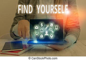 ファインド, 執筆, yourself., テキスト, 単語, selfsufficient, もの, 概念, ビジネス, なる