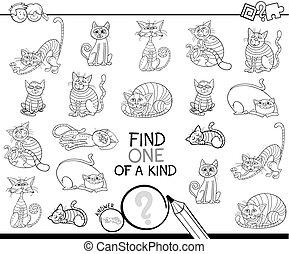 ファインド, 1種類の1つ, ゲーム, ∥で∥, ネコ, 着色 本
