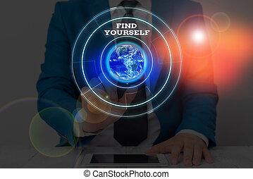 ファインド, yourself., 写真, テキスト, イメージ, 提示, nasa., 概念, 要素, 印, 供給される, これ, selfsufficient, もの, あなた自身, なる