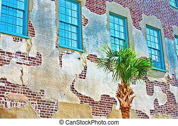 ファサド, の, 古い, 歴史的, 家, ∥で∥, ヤシの木